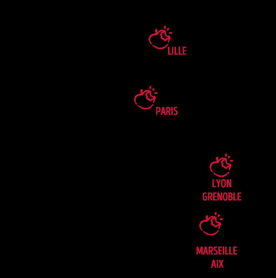 Carte de France des agences Pause fruitée - Fruits bio au bureau